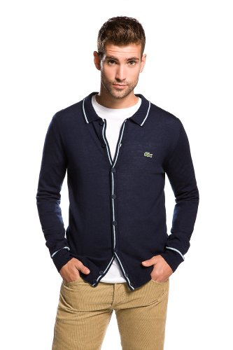 LACOSTE! Merino Wool Full Button Polo Sweater With Tipping