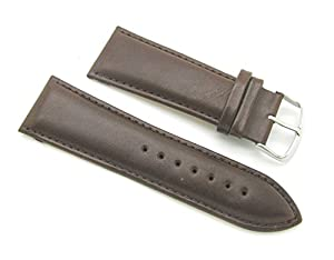 28mm Quality Thick Leather Padded Brown Watch Band with Spring Bars