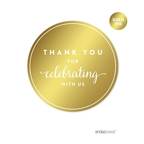 Andaz Press Round Circle Favor Gift Labels Stickers, Metallic Gold Ink, Thank You for Celebrating With Us, 40-Pack (Baby Shower Personalized Stickers compare prices)