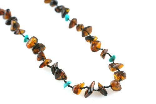 Knotted Cherry Amber & Turquoise Chip Necklace