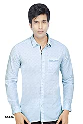 Blue Cotton Horizontal stripe with Motif Shirt