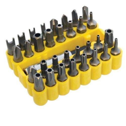 33-Schraubendreher-Bit-Set-Werkzeug-Bohrer-Halter-Torx-Star-Hex-in-gelb-Fall