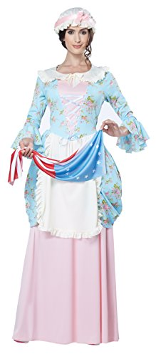California Costumes Women's Colonial Lady Costume, Blue/Pink, Medium