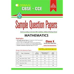 Oswaal CBSE CCE Sample Question Papers, Term II (October to March 2014) Mathematics for Class 10