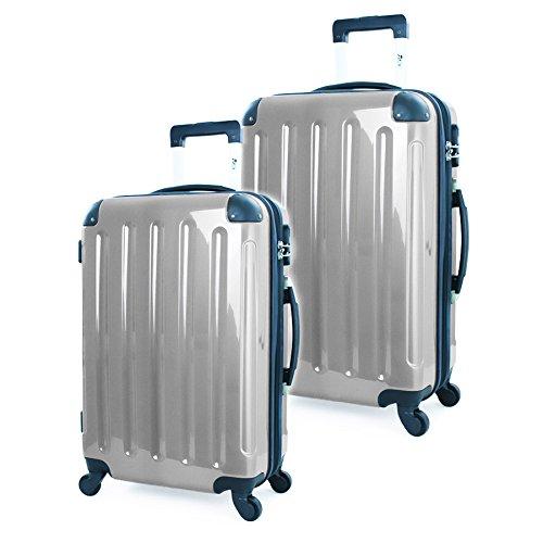 2-tlg-Hartschalen-Kofferset-Trolley-Koffer-Reisekoffer-7565-cm-11070-Liter-SILBER-HOCHGLANZ-4-Rollen-von-XAVION-7260