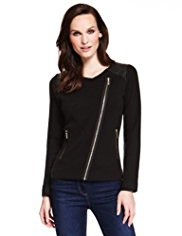 M&S Collection Faux Leather Knitted Biker Jacket with Wool