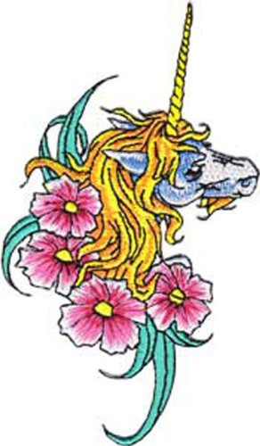 Application Unicorn with Flowers Patch