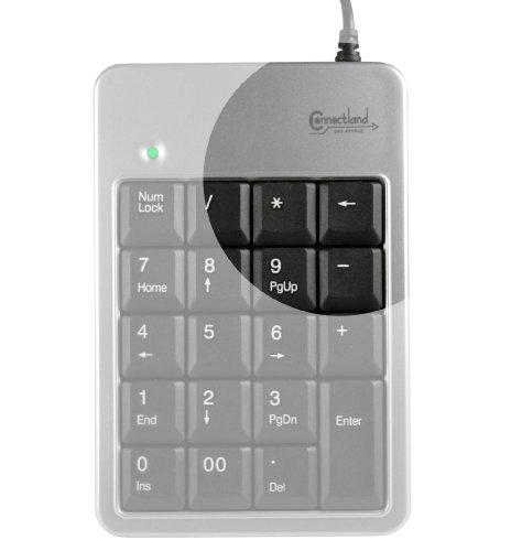 Connectland CL-Pavé-PT-963 Pavé numérique USB avec Touche Backspace Gris/Noir