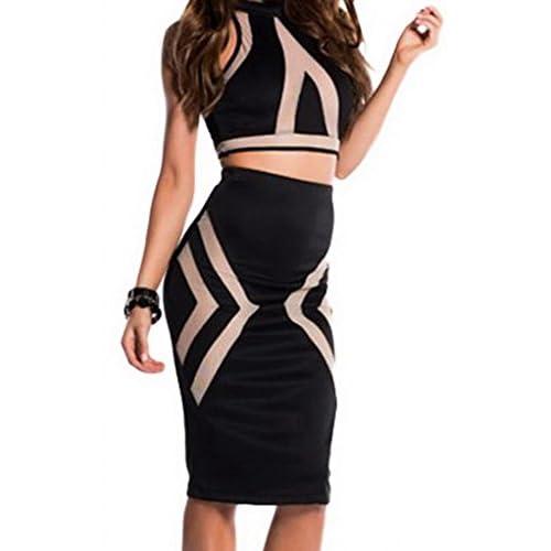 (ラボーグ)La Vogue ボディコン レディース スカートドレス キャバ 二次会タイト着痩せ 透け感ショート丈トップス 膝丈下スカート2点セット ブラック