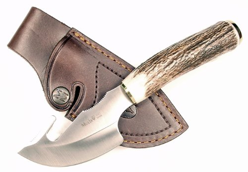 RUKO 3-1/8-Inch Blade Gut Hook Skinning Knife with Genuine Deer Horn Handle and Leather Sheath