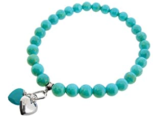 Earth - Blue Turquoise heart and Sterling Silver Heart on Blue Turquoise Beaded Stretch Bracelet - from the Earth Collection