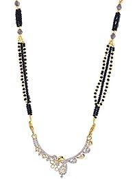 Jewelstone 22 K Gold & Rhodium Plated American Diamond Mangalsutra Set With Earrings & Triple Black Beaded Chain - B01FM9UUYY