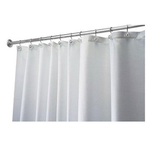 InterDesign Carlton Fabric Shower Curtain, 72 x 72, White (White Cotton Shower Curtain compare prices)