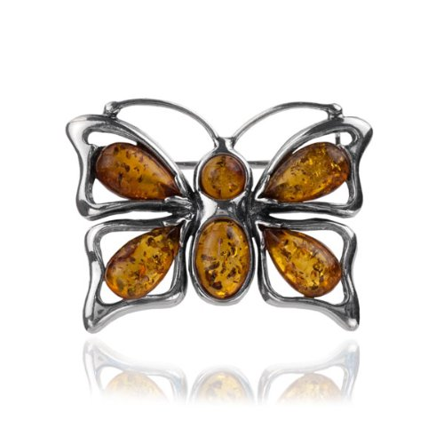 Baltic Honey Amber Sterling Silver Museum Collection Butterfly Pin 19th Century