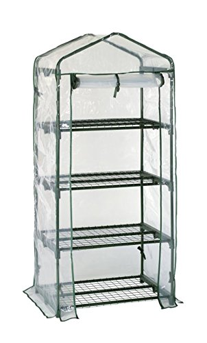 Happy Planter 4-Tier Portable Greenhouse with Four Steel Shelves and Clear PVC Cover, Mini