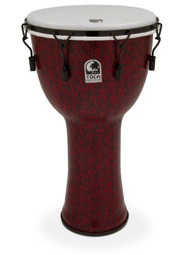 Toca Tf2Dm-14Rmb Freestyle Ii Mechanically Tuned 14-Inch Djembe With Bag - Red Mask Finish