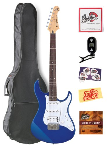 Yamaha Pac012 Pacifica Hss Double Cutaway Electric Guitar With Tremolo Bundle With Gig Bag, Tuner, Instructional Dvd, Strings, Pick Card, And Polishing Cloth - Blue