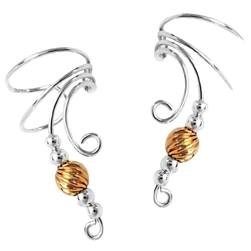 Sterling Silver Left And Right Long Curly Q Gold Filled Twist Bead Ear Cuff Set