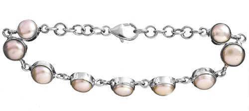 Sterling Bracelet with Gems - Sterling Silver - Color Pearl
