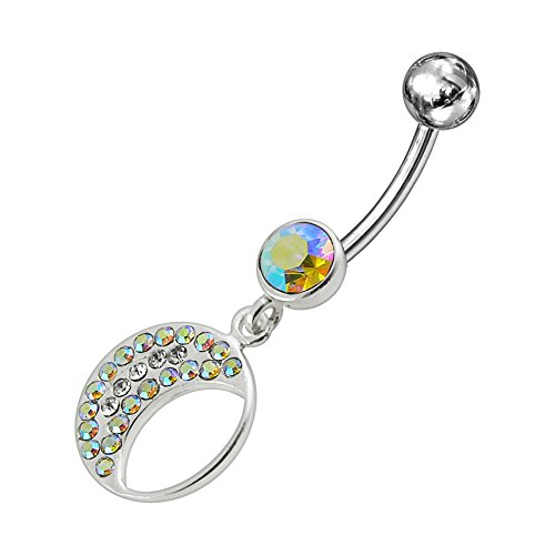 Rainbow Gems Stone Fancy Multi Crystal Crescent 925 Sterling Silver Dangling Belly Jewelry With 14Gx3/8(1.6X10Mm) 316L Surgical Steel Banana And 5Mm Ball.