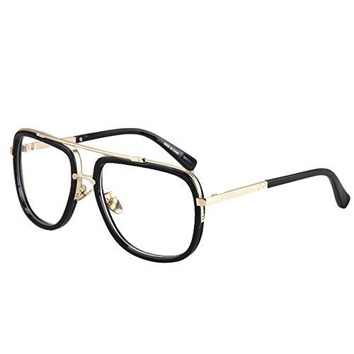 Vintage Men's Oversized Big Square Metal Frame Myopia Optical Eyeglasses 0