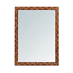 999Store handmade wooden decorative bathroom mirror brown zigzag lines (24x18 Inches)