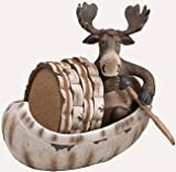 5 Piece Moose and Canoe Ceramic Coaster Gift Set
