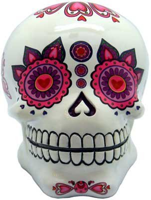 Heart Eyed White Day Dead Ceramic Skull Bank - 1