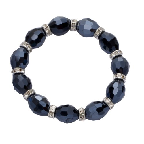Jodie Rose Midnight Blue Bead and Crystal Stretch Bracelet