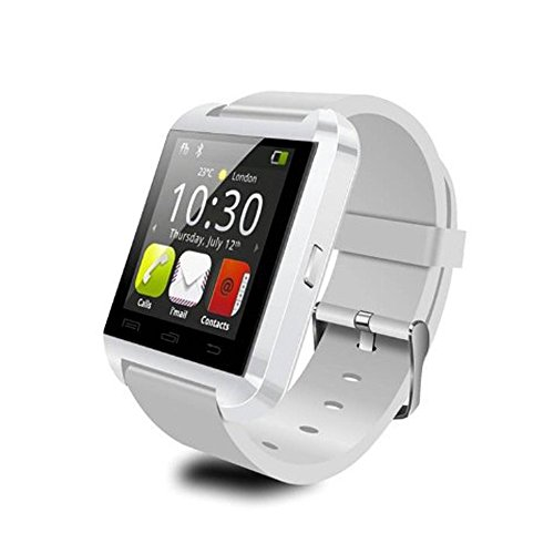 EasySMX Bluetooth Smartphone WristWatch U8 Plus U Watch for ios iPhone 4S/5S/6 Samsung S4/Note2/Note3 Android Phone Smartphones (White)