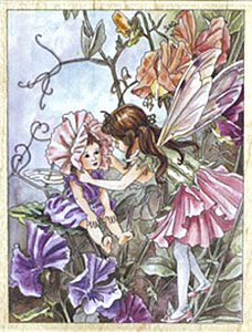 Sweet Pea Flower Fairies Wood Mounted Rubber Stamp