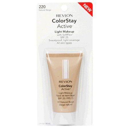 Revlon Colorstay Active Light Makeup With Softflex, All Skin Types, Natural Beige 220/05, 1 Ounce back-967148