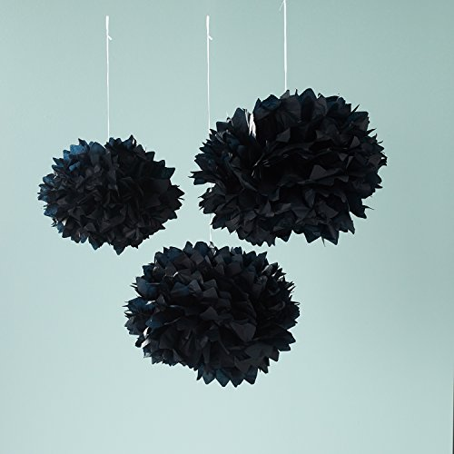 3er Set Seidenpapier Pompoms schwarz Party Papier Deko