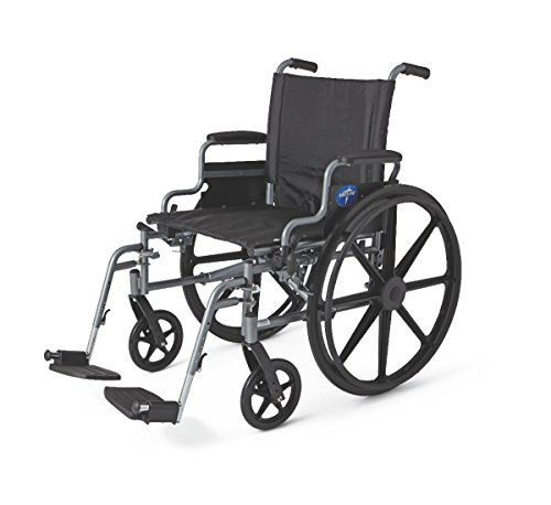 Medline K4 Basic Lightweight Wheelchair, 300 Lb Weight Capacity, 18 Inch Wide, Latex Free, Swing Back Desk-Length Arms, Detachable Foot Rests