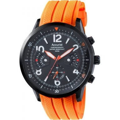 Accurist Mens Acctiv Sports Chronograph Orange Silicone Strap Watch MS921BO