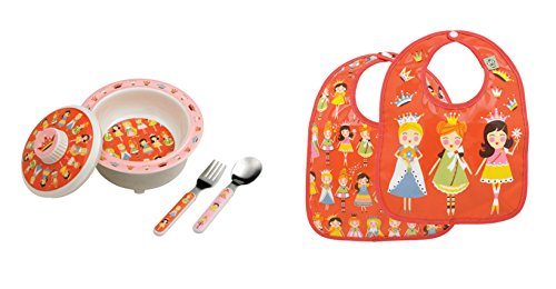 Sugarbooger Covered Bowl, Silverware, and 2 Bibs Set-Princess
