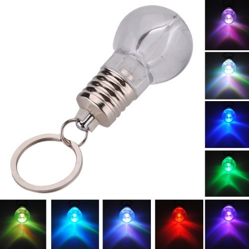 Colour Changing Led Light Mini Bulb Torch Keyring Keychain