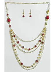 Five Layer Golden Chain With Red Bead Necklace And Earrings - Beads And Metal