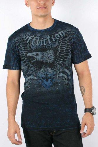 Affliction - Mens Hickory Reversible T-Shirt In Blk/Cobalt Blue Lava Wash, Size: Medium, Color: Blk/Cobalt Blue Lava Wash