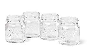Barbuzzo Mason Jar Shot Glasses, 4-Pack