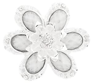 3 Pieces of Ladies White with Silver Sunflower Petal Style Brooch & Pin Pendant with Stones