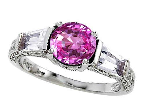 Star K Round 7Mm Created Pink Sapphire Engagement Ring Size 8