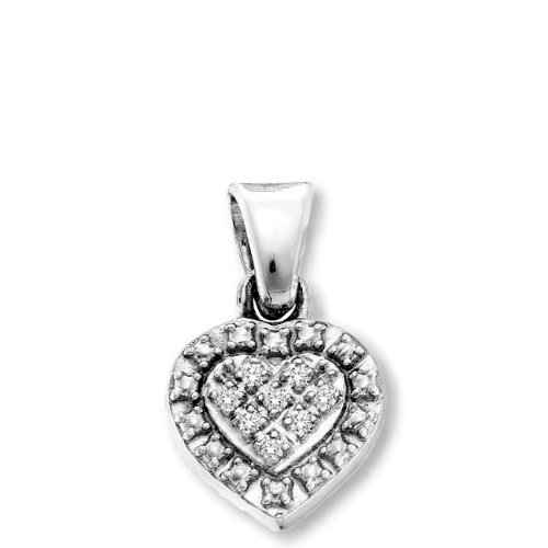 Genuine Diamond Heart Pendant Rhodium on Sterling Silver Total of 22 Diamonds