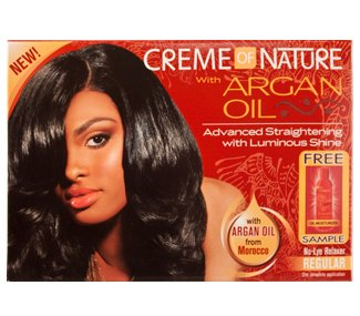 ARGAN OIL STRAIGHTENING WITH LUMINOUS SHINE NO-LYE RELAXER KIT (REGULAR) By CREME OF NATURE Relaxer Kit