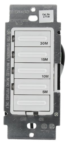 Leviton LTT30-1LW Decora 600W Incandescent/5A Resistive 5-10-15-30 Minute Preset Countdown Timer, Single Pole, White