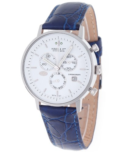 Haas  &  Cie Men's Quartz Watch with Silver Dial Analogue Display and Blue Leather Strap MFH211ZWB-B