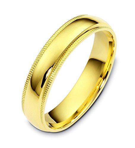 Where To Buy Mens 10K Yellow Gold Millgrain 5MM Wedding Band