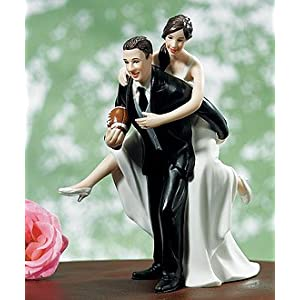 wedding reception decoration ideas playful football wedding couple cake topper