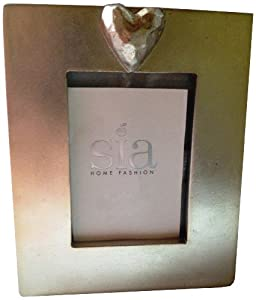 Sia Home Fashions Decor Collection Light Gold Heart Picture Frame for 2.5 by 3.5-Inch Photos