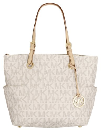 Michael Kors East West Signature PVC Tote Vanilla